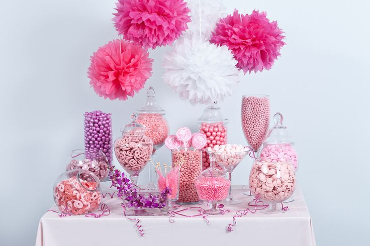 Pink candy buffet, starring Nuts.com candy.#nutsdotcom #wedding