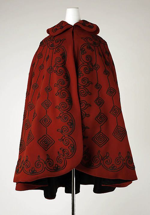 Cape 1890s met museums silk capes 19th century 1890s capes red