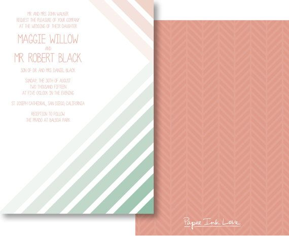 Ombre Wedding Invitations Chevron Wedding Invitations Modern Wedding Invitations Mint Wedding Invitations - Style PIL-036