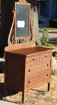Tiger Oak Dresser With Mirror 150
