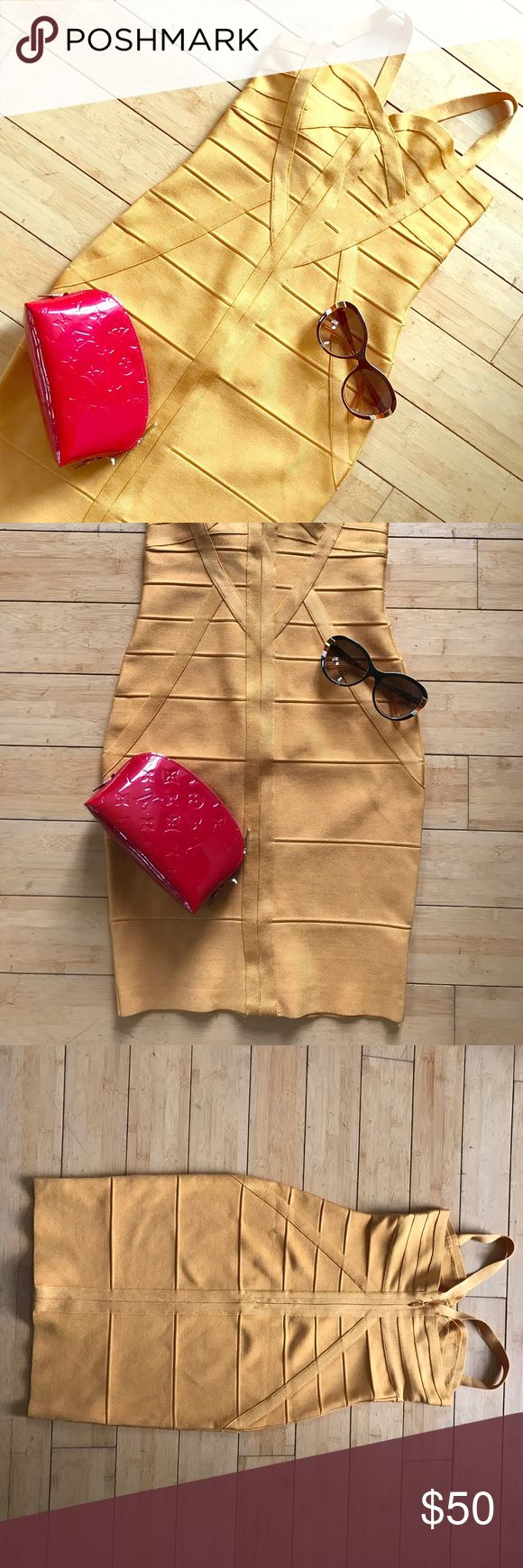 💋Sexy Gold Bandage Dress size XS/S Sexy gold bandage dress no labrl, looks and feels just like Herve Lager! Size Small or Extra Small, low cut like new! Dresses Mini