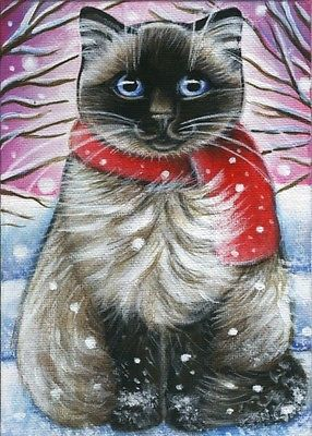 Ragdoll Cat Winter Xmas Painting I own this original artwork... Reminds me of my sweet Brucey!