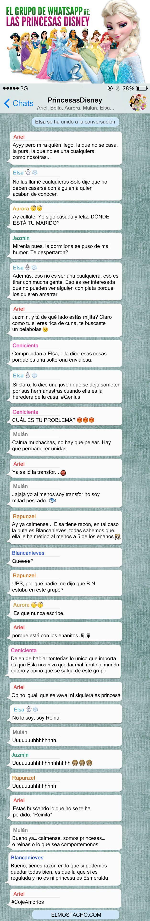 El Grupo de Whatsapp de: Las Princesas de Disney
