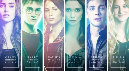 Left to right: Clary Fray (The Mortal Instruments), Harry Potter (Harry Potter), Katniss Everdeen (The Hunger Games), Lena Duchannes (Beautiful Creature's), Percy Jackson (Percy Jackson), Tris Prior(Divergent)