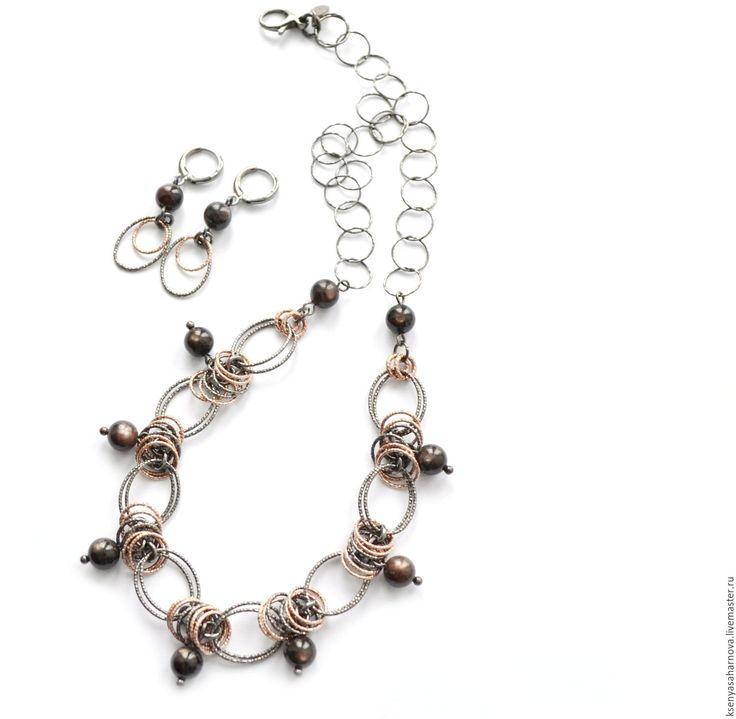 Купить Колье и серьги из серебра Черный звездчатый сапфир - серебряные украшения, колье и серьги серебро