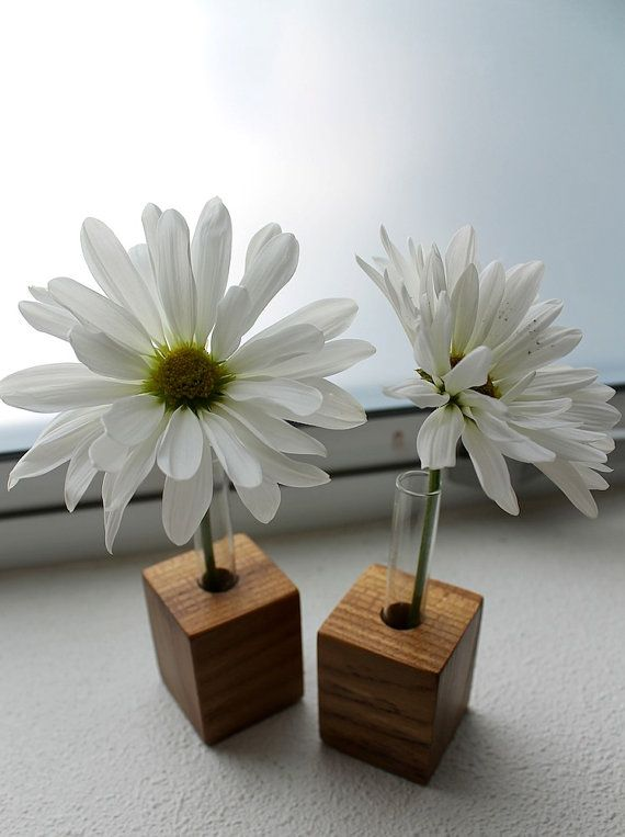 Test Tube Flower Vase with Wood Bases in eco by Objekt Pucon                                                                                                                                                                                 Más