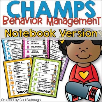 The CHAMPS Behavior Management Notebook Version is designed for easy communication between you and your students. Each sign tells your students what activity they will be involved in and goes through the CHAMPS acronym to help them stay on track. C - Conversation - at what level should the students voices be at?