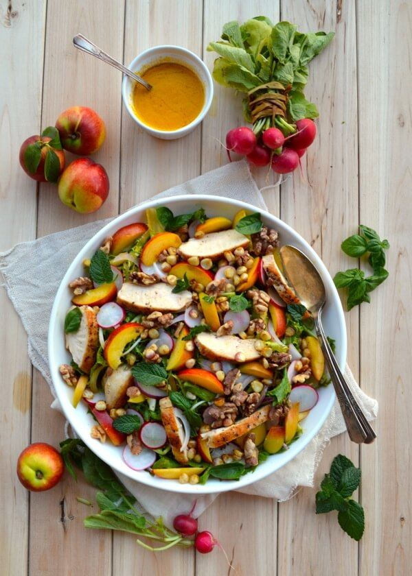Nectarine Salad with Seared Chicken & Carrot Ginger Dressing by thewoksoflife.com