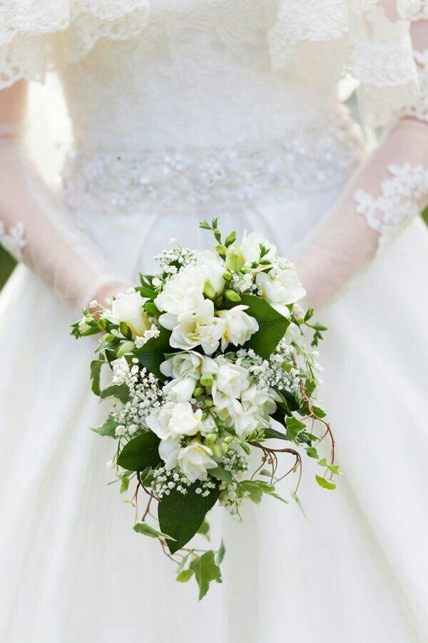Petite Cascading Bouquet Of Pretty White Florals & Mixed Green Foliage That Includes Trailing Ivy****