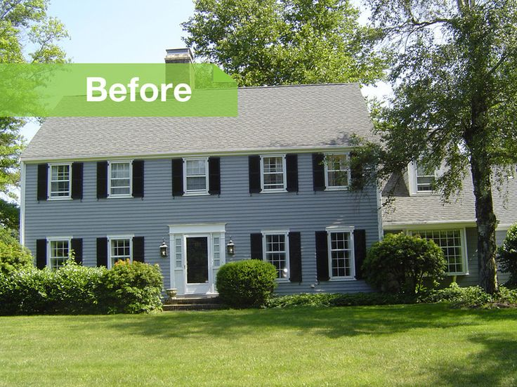 Before and after 39 70s colonial gets modern update dream for Modern colonial home exterior