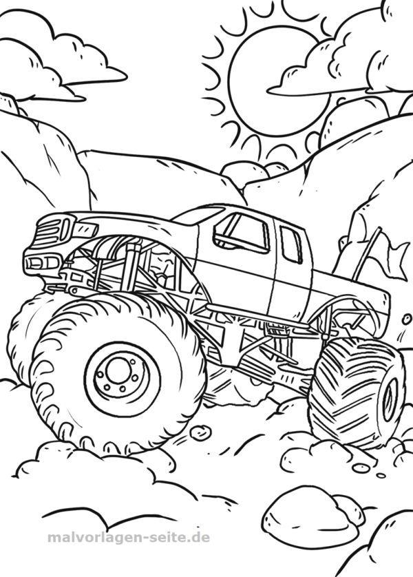Coloriage Impression De La Photo Monster Track Colorchart Impression De L Monster Truck Coloring Pages Monster Truck Art Monster Truck Drawing