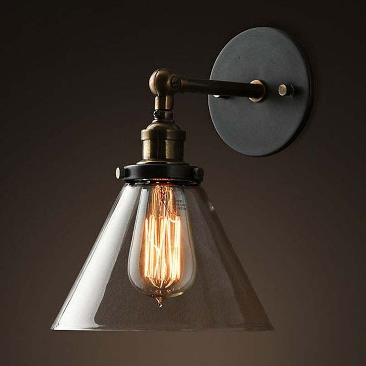 Nuevo Industrial Cristal Cono Lámpara De Pared Aplique Rústico Arbotante Vintage