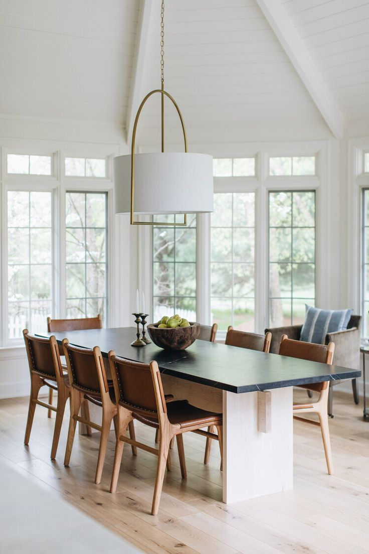 Love These Leather And Wood Dining Chairs And The Design Of This