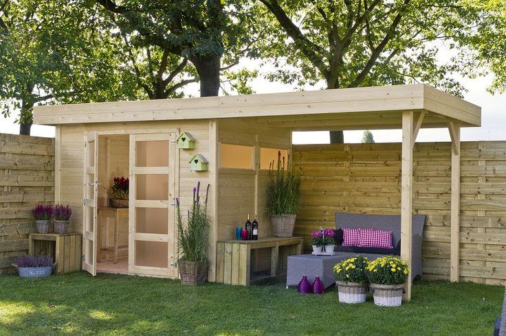 Flachdach Gartenhaus Vera + Überdachung vom Marktführer ✓Fachberatung ✓Bester Onlineshop Garten 2016 ✓Gratis Lieferung ✓Kauf auf Rechnung ✓5 Jahre Garantie