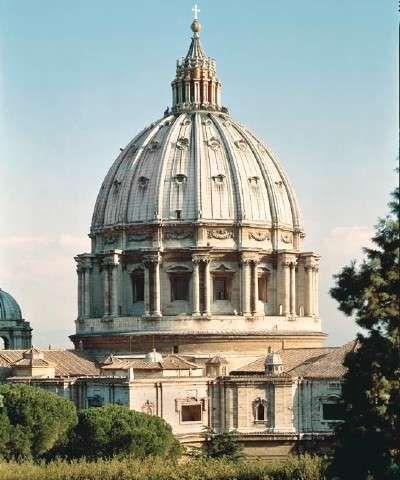 The Dome of St. Peter's Basilica - Michelangelo designed the dome based on the original plans drawn by Bramante. He did not live to see the completion the dome, but it was built according to his exact designs.