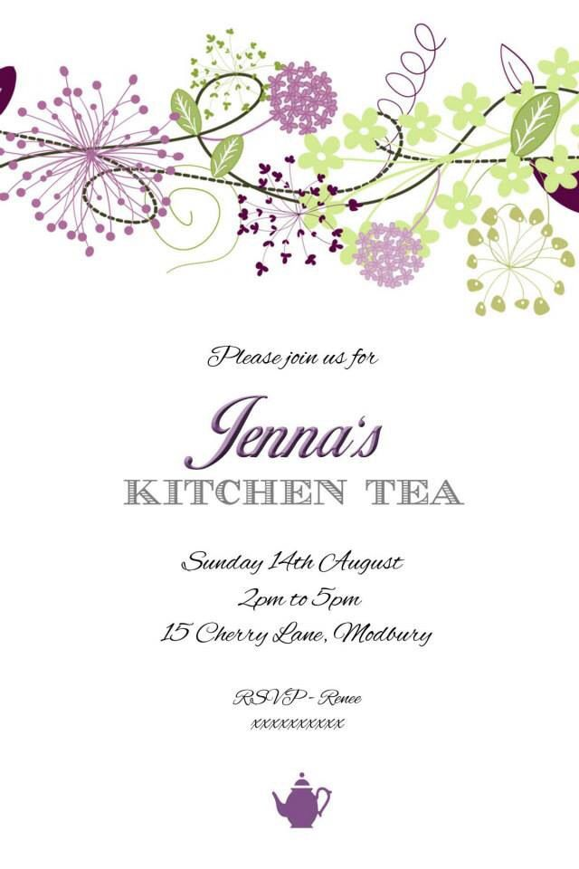 images about Kitchen Tea Invites on Pinterest  Teas, Green and Purple