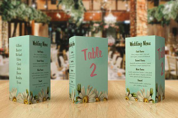 Wedding Menu Card  Table Numbers  Table Plan  Wedding Menu