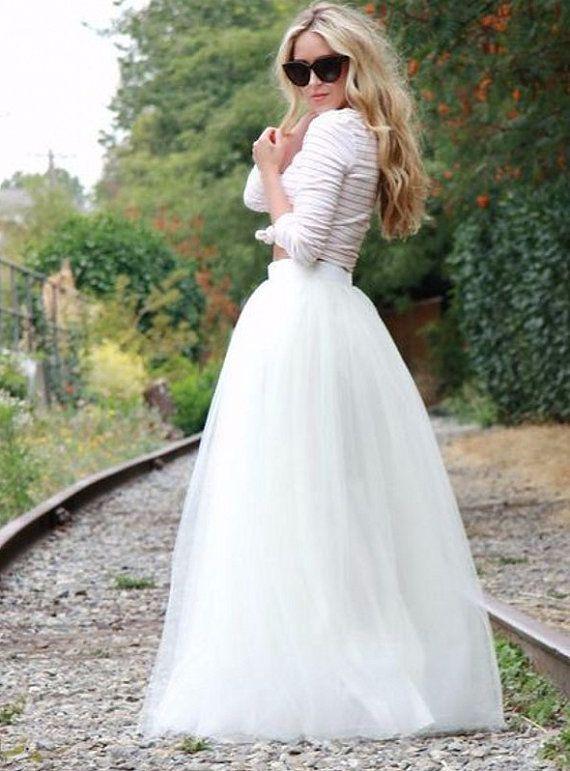 Jupon de Tulle Maxi blanc / étage longueur Tulle jupe / jupe de mariage