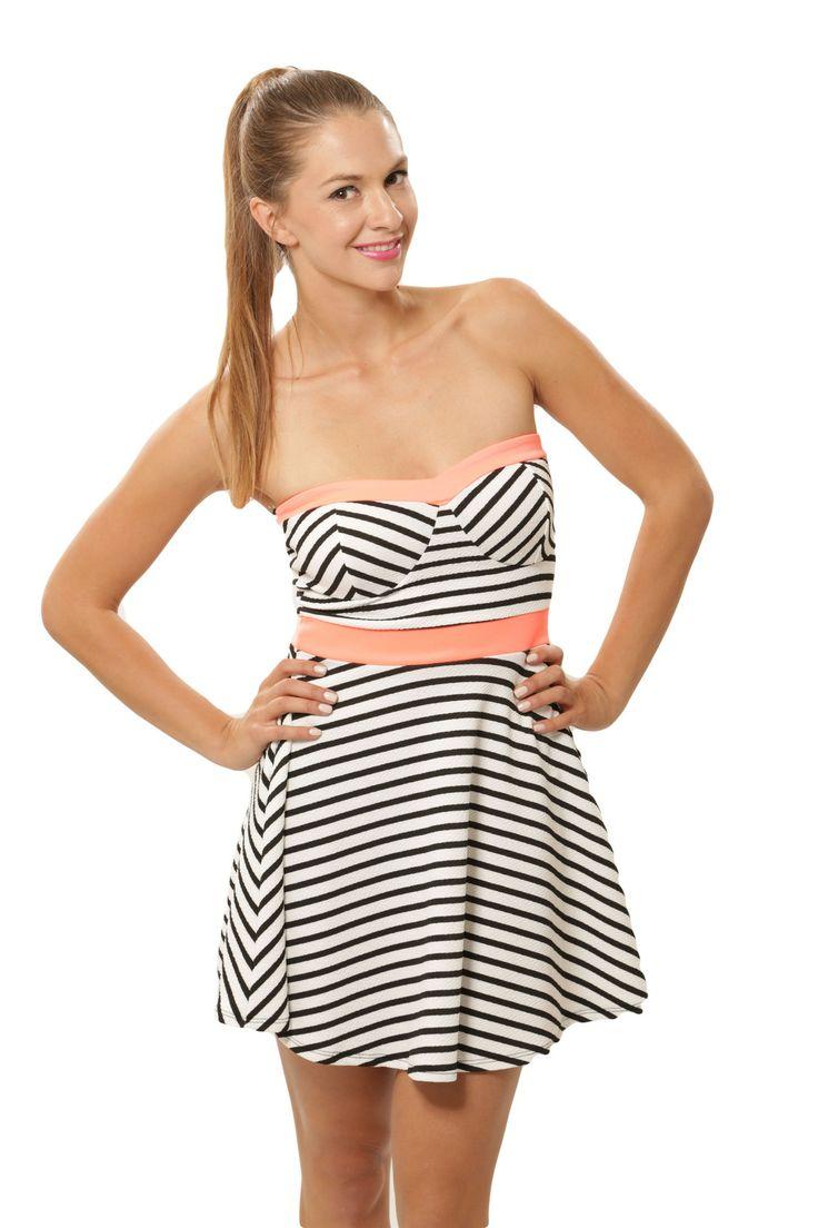 Stripe Me Tube Dress - White / Orange