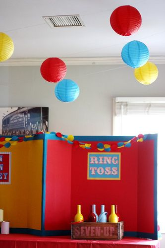 Tri fold board for carnival game back drop with sign.