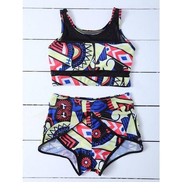 Mesh Panel Printed Boyshort Bikini (€14) ❤ liked on Polyvore featuring swimwear, bikinis, bikini boyshort, bikini swim wear, boy short bikini swimwear, boy shorts swimwear and bikini beachwear
