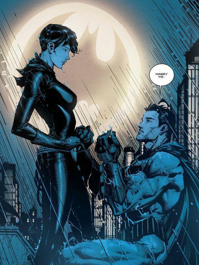 Selina Kyle (Cat Woman) and Bruce Wayne (Batman) - proposal - DC Rebirth.