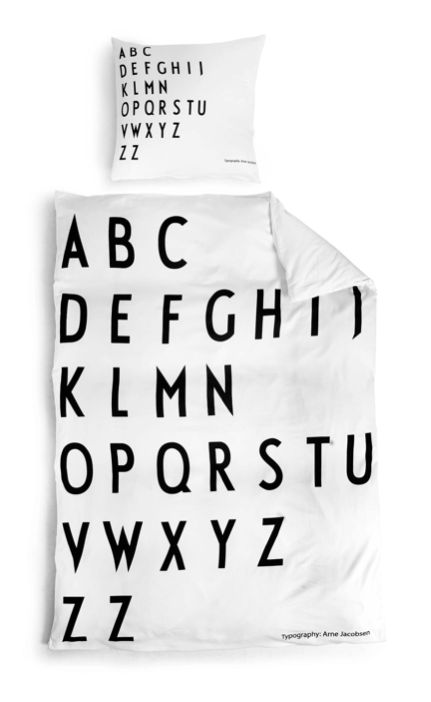 cool bed linen with alphabet in black & white | typography / graphic design: Arne Jacobsen @ Design Letters |