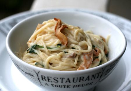 Pasta with Cheese Sauce, Chanterelles, Caramelized Onions, and Spinach