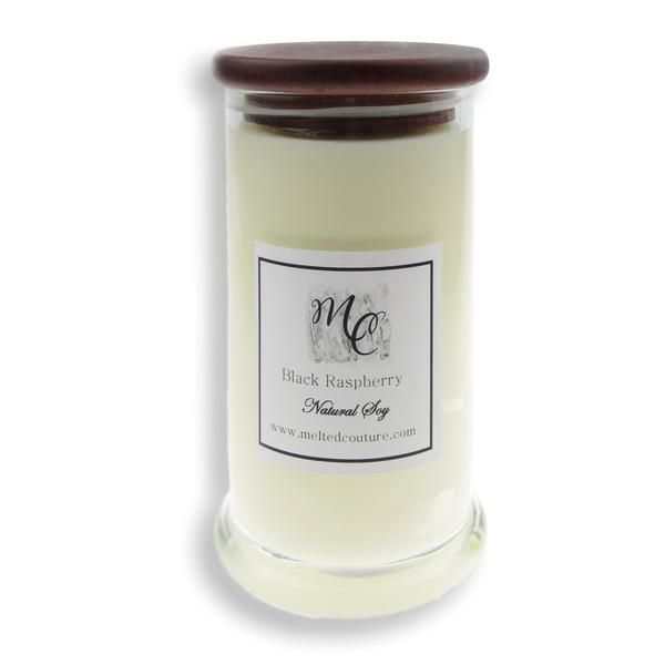 Natural soy candle from Melted Couture, beautifully scented and burn for 100 hours. Available in coconut lime, satin sheets and black raspberry scents.