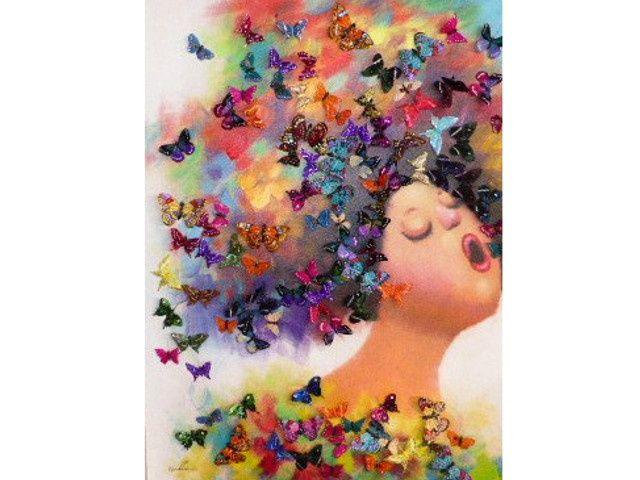 schilderij vrouw met vlinders 3D