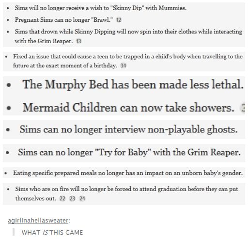 Sim Updates. Sims that drown while skinny dipping will now spin into their clothes while interacting with the grim reaper.... okay...