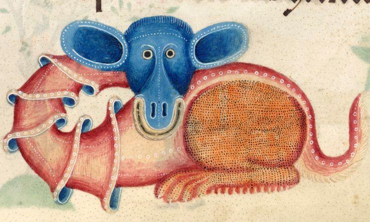 happy dragon; Luttrell Psalter, England ca. 1325-1340. British Library, Add 42130, fol. 196r