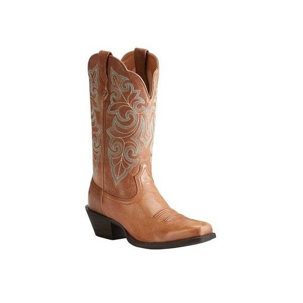 Women's Ariat Round Up Square Toe ($140) ❤ liked on Polyvore featuring shoes, boots, brown, casual, cowboy boots, western boots shoes, brown square toe boots, cowgirl boots, square toe cowboy boots and brown riding boots