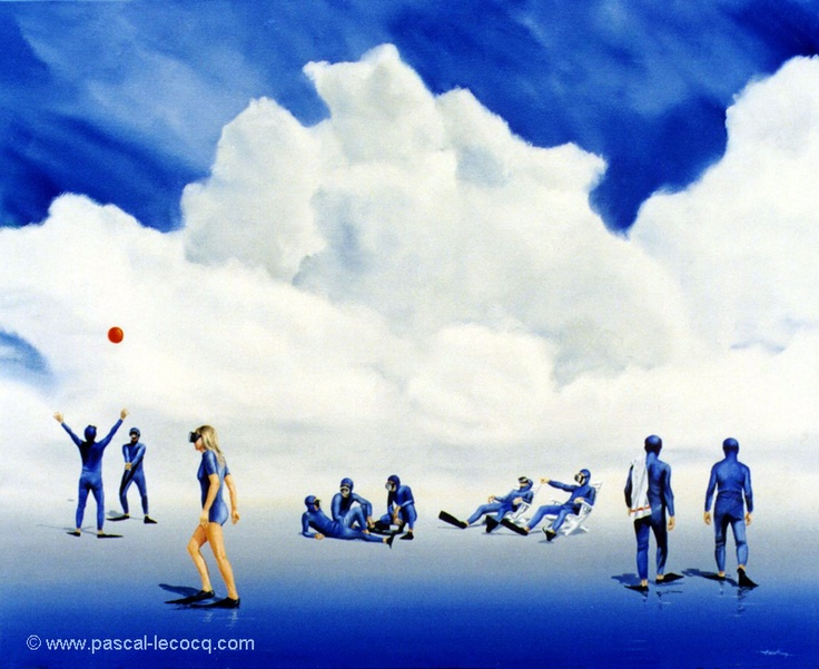 """OLYMPIC GAMES 2012, Aug 9th:Beach Volleyball Men Final  pic: """"CUISSES DE GRENOUILLES""""  - Frog legs - oil on canvas by Pascal Lecocq, The Painter of Blue ®, 24""""x2960x73cm, 1993, lec369, priv.coll. Cannes, France. ©www.pascal-lecocq.com."""