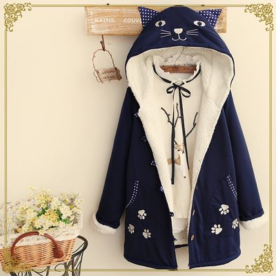 www.sanrense.com - Japanese cute cat hooded thick coat