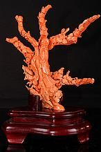 CHINESE EARLY 20TH CENTURY RED CORAL CARVING STATUES OF THE GOD OF LONGEVITY (679g) L:8 / Estimated Price: CAD20,000 - CAD30,000 - Realised: CAD7,500