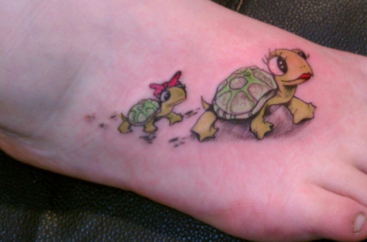 I already have a turlte tattoo but would love to add 2 more turtles 1 behind the other to repesent my 3 babies:)