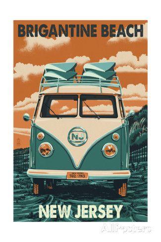 Brigantine Beach, New Jersey - VW Van Print by Lantern Press at AllPosters.com