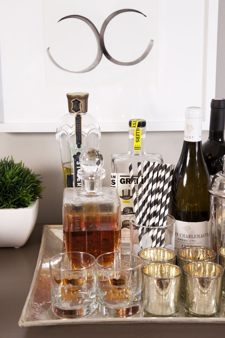 Great Little Bar Tray Arrangement. Love The Black And White Striped Straws.  A Coupleu0027s Graphic Cool Small Space Condo U2014 Professional Project