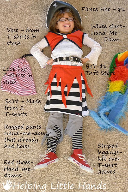 Such and cute pirate costume and all made from T-shirts...