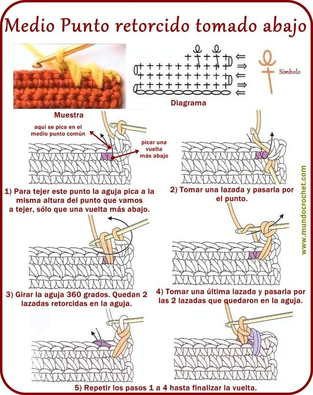 Medio punto - Twisted single crochet - вязание крючком пунктов