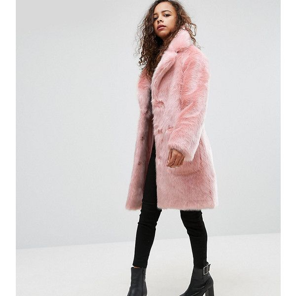 ASOS PETITE Midi Coat in Plush Faux Fur ($135) ❤ liked on Polyvore featuring outerwear, coats, petite, pink, short coat, imitation fur coats, pink coat, petite faux fur coat and petite coats