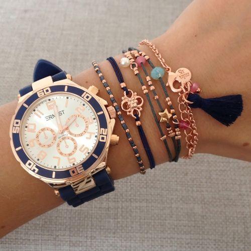 Dark Blue watch & bracelets - Mint15 | www.mint15.nl