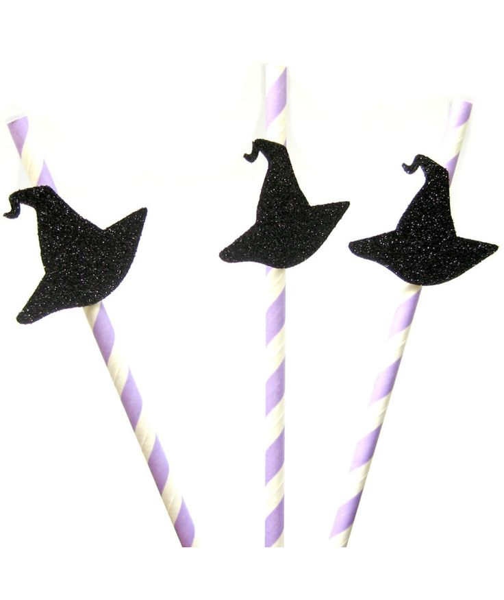 When serving up spooky cocktails and mocktails, you can top them off with these striped paper straws with glitter witch hats. The straws are made from biodegradable paper and the witch hats are constructed from glitter cardstock.