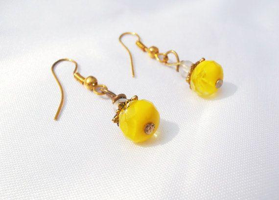 Bright Yellow Earrings Yellow Dangle Earrings by TheButtonBird