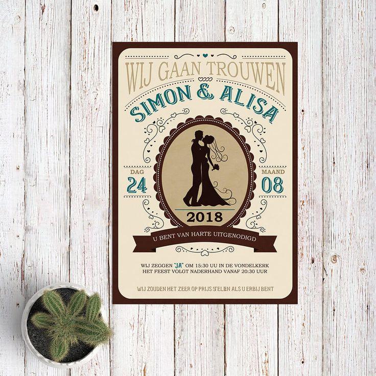 Vormgeving van deze Western trouwkaart is geïnspireerd door stijlen uit het Wilde Westen: lettertypes, typografie, de kleuren en stijl van illustraties.