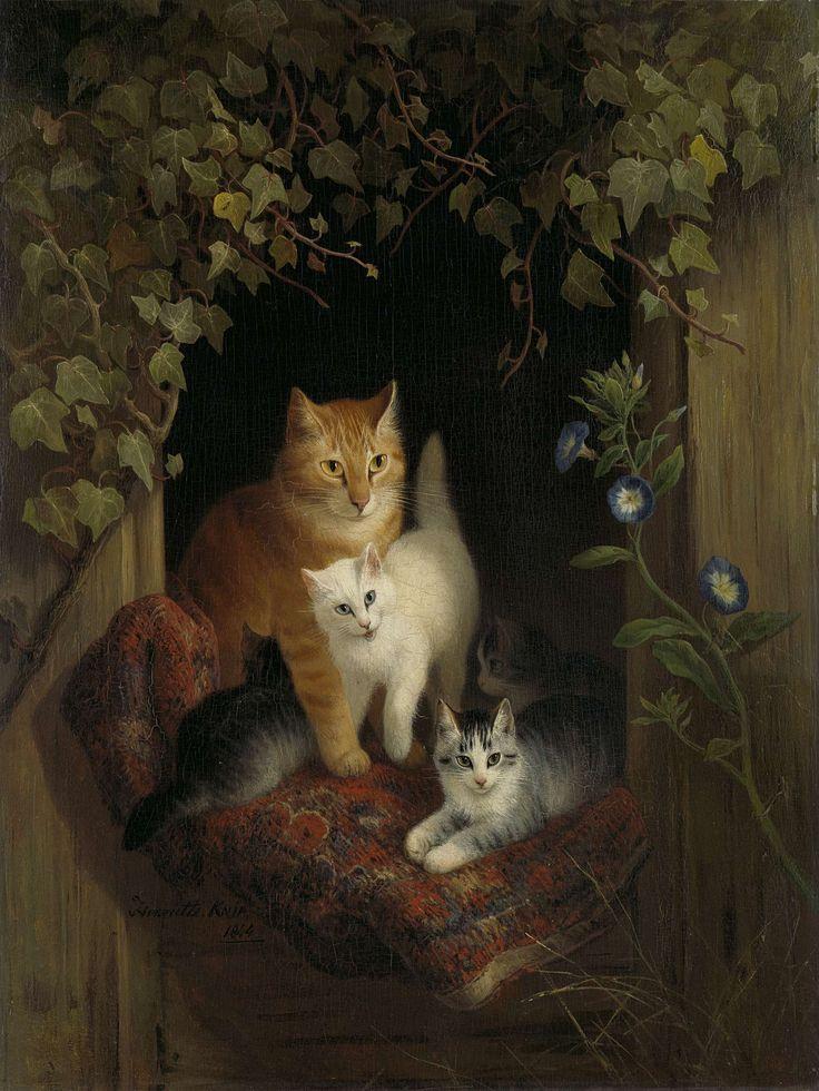 Henriëtte Ronner | Cat with Kittens, Henriëtte Ronner, 1844 | Kat met jongen. In het raam van een houten schuur zit een kat met vier jongen op een oude deken. Rond het venster klimop en winde.