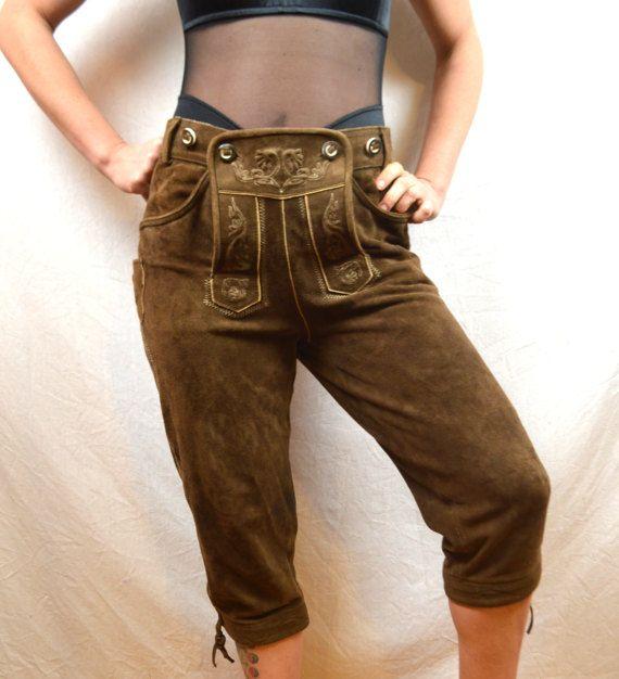Vintage Leather Suede WOW German Lederhosen Costume Shorts