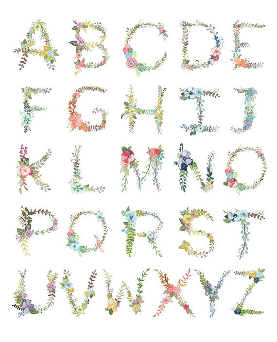 Floral Alphabet Print by Makewells on Etsy, $18.00
