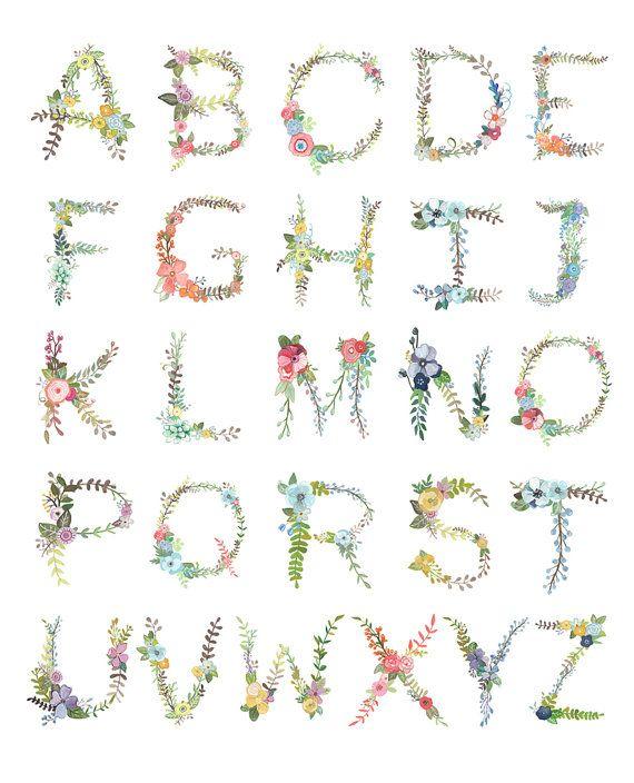 Alfabeto floral Print por Makewells en Etsy                                                                                                                                                                                 Más